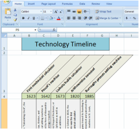 create a timeline in excel about a famous person or event from history with this project you will see that excel can be used to display data in ways